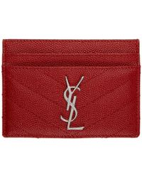 Saint Laurent - Red Quilted Monogram Card Holder - Lyst