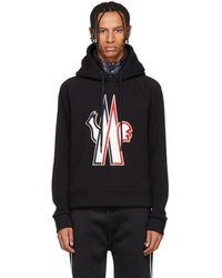 Moncler Grenoble - Black Embroidered Logo Hoodie - Lyst