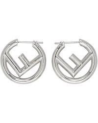 Fendi - Silver Small F Is Hoop Earrings - Lyst