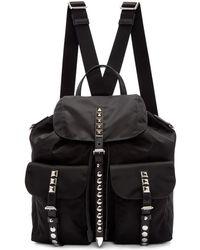 Prada - Black Nylon Studded Backpack - Lyst