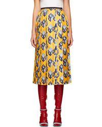 Gucci - Yellow Gg Wallpaper Skirt - Lyst