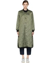 6397 - Green Quilted Long Bomber Coat - Lyst