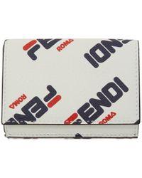 Fendi - White Micro Mania Trifold Wallet - Lyst