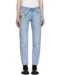 Versace - Blue Embroidered Cropped Jeans - Lyst