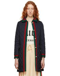 Gucci - Black Quilted Long Down Coat - Lyst