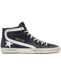 Golden Goose Deluxe Brand - Navy Denim Slide High-top Sneakers - Lyst