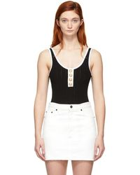 Balmain - Black And White Knit Button Bodysuit - Lyst