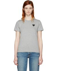 Play Comme des Garçons | Grey And Black Small Heart Patch T-shirt | Lyst