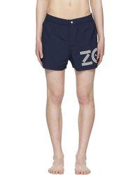KENZO - Navy Logo Swim Shorts - Lyst
