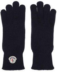 Moncler - Navy Wool Logo Gloves - Lyst