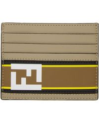 Fendi | Taupe Logo Card Holder | Lyst