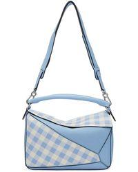 Loewe - Sac bleu Gingham Puzzle - Lyst