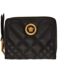 Versace - Black Quilted Medusa Tribute Wallet - Lyst