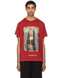 Off-White c/o Virgil Abloh | Red And Black Diagonal Monalisa T-shirt | Lyst