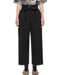 3.1 Phillip Lim - Black Paper Bag Cropped Trousers - Lyst