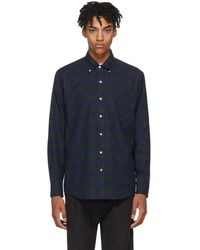 Aimé Leon Dore - Navy And Green Nubby Flannel Shirt - Lyst