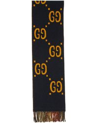 Gucci - Navy And Red GG Tartan Plaid Scarf - Lyst