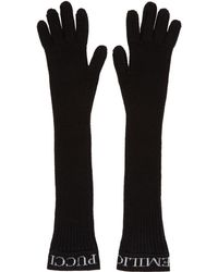 Emilio Pucci - Black Ribbed Wool Gloves - Lyst