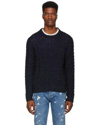 Rag & Bone - Navy Trevor Aran Sweater - Lyst
