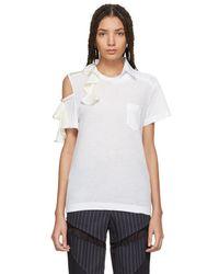 Sacai - White Asymmetric Ruffle T-shirt - Lyst