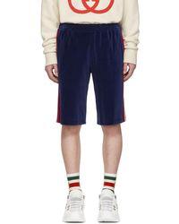 Gucci - Short en velours bleu Jogging - Lyst