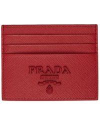 Prada - レッド サフィアーノ ロゴ カード ホルダー - Lyst
