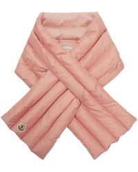 Moncler - Pink Down Quilted Scarf - Lyst