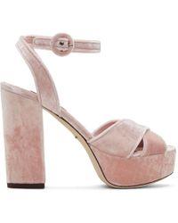 Dolce & Gabbana - Pink Velvet Platform Sandals - Lyst