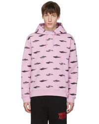 McQ - Pull a capuche rose All Over Racing Cars Clean - Lyst