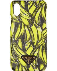 Prada - Black And Yellow Saffiano Banana Iphone X Case - Lyst