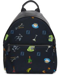Fendi | Blue Nylon Multi Print Backpack | Lyst