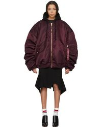 Vetements - Reversible Burgundy Alpha Industries Edition Oversized Hooded Bomber Jacket - Lyst