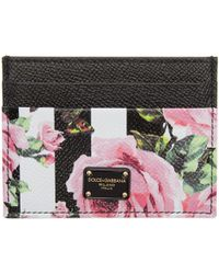 Dolce & Gabbana | Black Stripes And Flowers Card Holder | Lyst