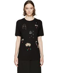 Lanvin - Black Embroidered T-shirt - Lyst