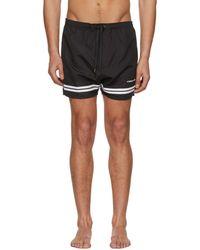 Neil Barrett - Black And White Stripes Logo Swim Shorts - Lyst