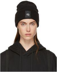 Y-3 - Black Wool Logo Beanie - Lyst