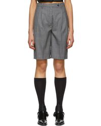 Prada - Grey Wool Tailored Shorts - Lyst