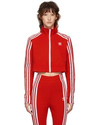 adidas Originals - Red Cropped Track Jacket - Lyst