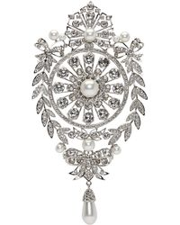 Givenchy | Silver And Pearl Classic Strass Brooch | Lyst