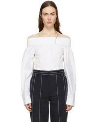 Cedric Charlier - Off-white Off-the-shoulder Blouse - Lyst