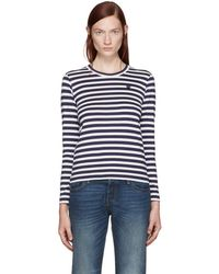 Play Comme des Garçons - Navy & White Striped Small Heart Patch T-shirt - Lyst