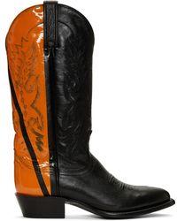 Helmut Lang - Black And Orange Sarah Morris Edition Cowboy Boots - Lyst