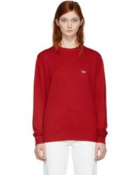 Maison Kitsuné - Red Wool Tricolor Fox Patch Pullover - Lyst