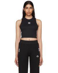 adidas Originals - Black Cropped Tank Top - Lyst