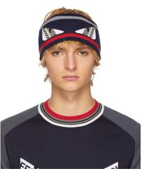 Fendi - Navy And Red Wool Bag Bugs Headband - Lyst