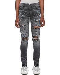 Amiri - Grey Paint Splatter Jeans - Lyst