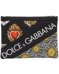 Dolce & Gabbana - Black Lemon And Sacre Coeur Pouch - Lyst