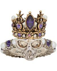 Alexander McQueen - Silver And Gold Queen Skull Ring - Lyst