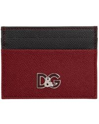 Dolce & Gabbana - Red And Black Logo Card Holder - Lyst