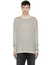 Nonnative | Off-white And Navy Striped Manager Sweater | Lyst